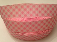 "1 metre - 1"" Light Pink & White Check Grosgrain Ribbon"