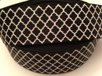 "1 metre - 1.5"" Black & White Grosgrain Ribbon"