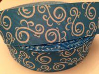 "1 metre - 1.5"" Blue & White Swirls Grosgrain Ribbon"