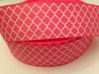 "1 metre - 1.5"" Hot Pink & White Grosgrain Ribbon"