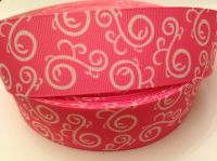 "1 metre - 1.5"" Hot Pink & White Swirls Grosgrain Ribbon"