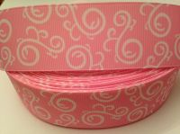 "1 metre - 1.5"" Light Pink & White Swirls Grosgrain Ribbon"