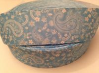 "1 metre - 1.5"" Pale Blue Paisley Grosgrain Ribbon"