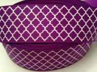 "1 metre - 1.5"" Purple & White Grosgrain Ribbon"
