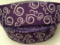 "1 metre - 1.5"" Purple & White Swirls Grosgrain Ribbon"