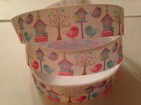 """1 metre - 7/8"""" Birds, Trees & Houses Grosgrain Ribbon"""