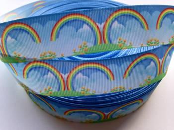 "1 metre - 1"" Rainbow Grosgrain Ribbon"