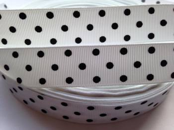 "1 metre - 7/8"" Black Dots on White Grosgrain Ribbon"
