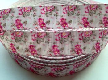 "1 metre - 7/8"" Pink Flowers Grosgrain Ribbon"