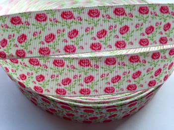 "1 metre - 7/8"" Pink Flowers2 Grosgrain Ribbon"