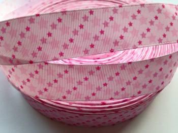"1 metre - 7/8"" Pink Stars Grosgrain Ribbon"