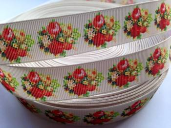 "1 metre - 7/8"" Red & Yellow Flowers on Cream Grosgrain Ribbon"
