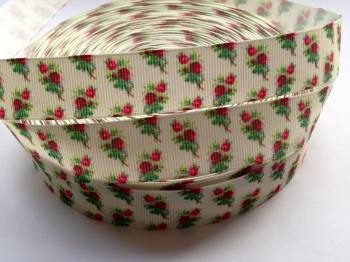 "1 metre - 7/8"" Red Roses on Cream Grosgrain Ribbon"