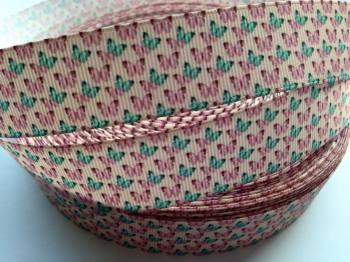 "1 metre - 7/8"" Turquoise & Pink Butterflies Grosgrain Ribbon"