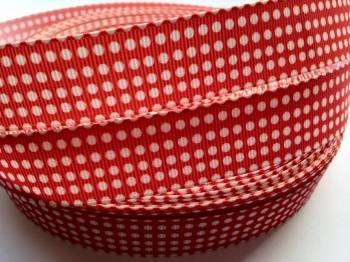"1 metre - 7/8"" White Dots on Red Grosgrain Ribbon"