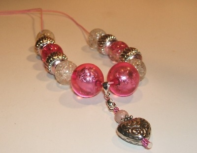 Pink + Silver Heart Necklace