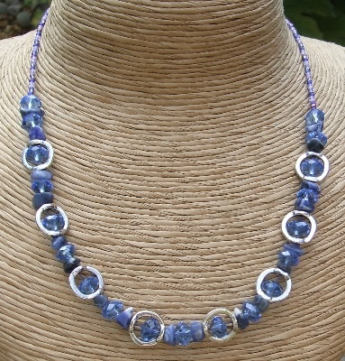 Blue + Silver Necklace with Sodalite gemstone chips