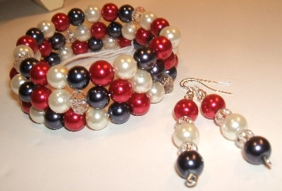 Red, white + blue glass pearl bracelet + earrings
