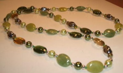 Continuous Shades of Green Necklace