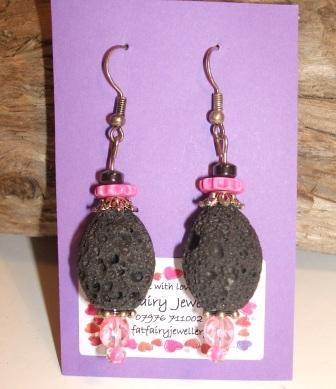 Black Lava + Pink Earrings