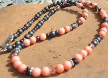 Coral + Haematite Necklace