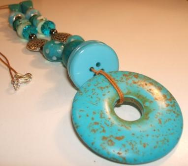 Stabilised Turquoise Donut Pendant Necklace