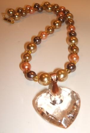 Coffee + Peach Glass Pearl Necklace with feature Heart pendant