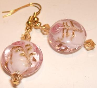 Pink + gold-tone earrings