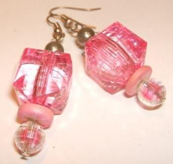 Pink cube earrings