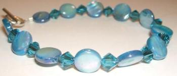 Blue 'Mother of Pearl' + Swarovski bracelet
