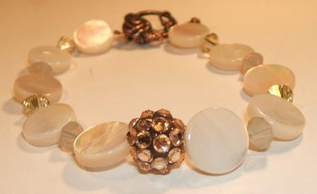 'Mother of Pearl' + Swarovski bracelet