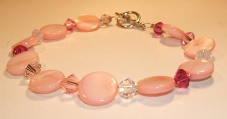 Pink 'Mother of Pearl' + Swarovski bracelet