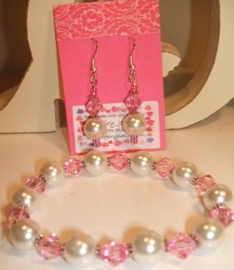 Sparkly Bridesmaids bracelet + earrings set