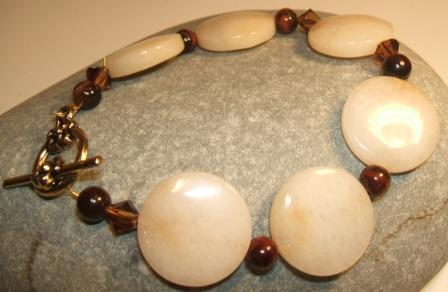 Honey Jade, Tiger's Eye + Swarovski Bracelet