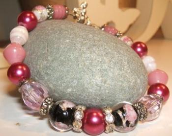 Black + Pink Sparkly Bracelet