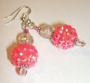Pink Shamballa ear-rings