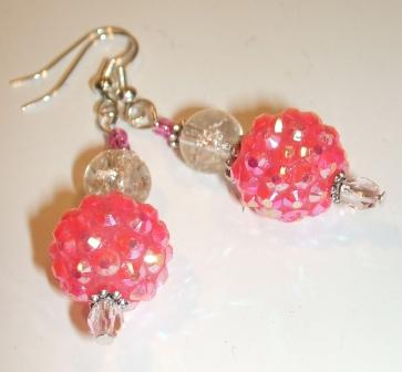 Pink Shamballa ear-rings