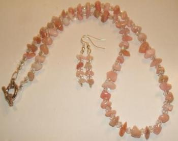 Australian gemstone chip + crystal necklace + earrings