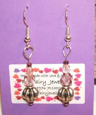 Pink, purple + silver earrings