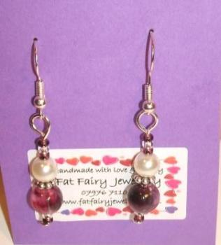 Purple + cream glass pearl earrings