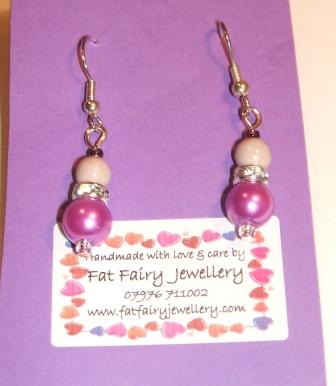 Purple + pink sparkly earrings