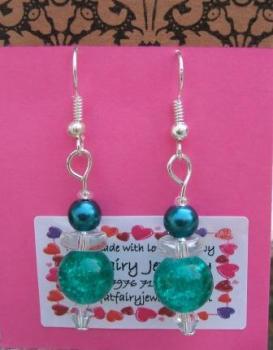 Deep teal + silver earrings
