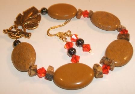 Agate, Haematite + Swarovski crystal bracelet + earrings set