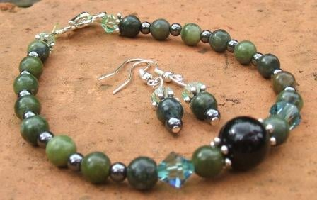 Chinese Jade + Tourmaline Bracelet + Earrings set