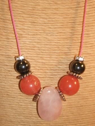 Cherry Quartz, Rose Quartz + Haematite Necklace