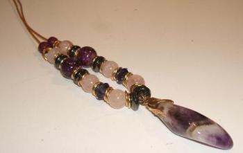 Chevron Amethyst Focal Pendant Necklace with Rose Quartz + Haematite