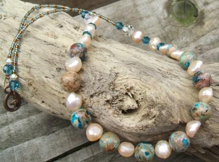 Picasso Jasper + Freshwater Pearl Necklace