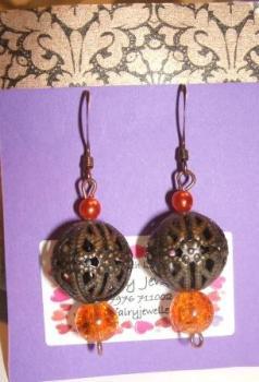Brown Filigree + Orange earrings