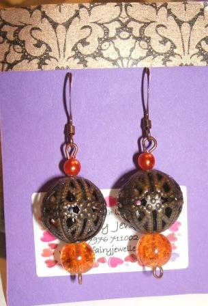 Brown Filigree + Orange earrings