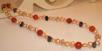 Freshwater Pearl, Carnelian + Haematite Necklace